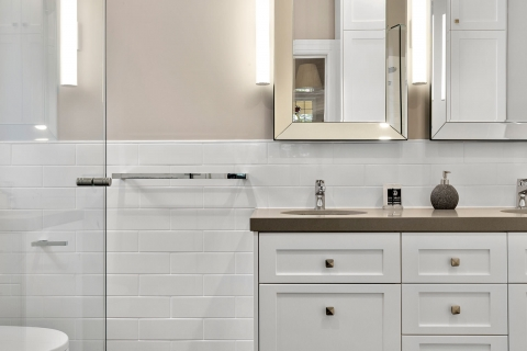 Brighton-Period home double vanity. Modern twist with the lighting
